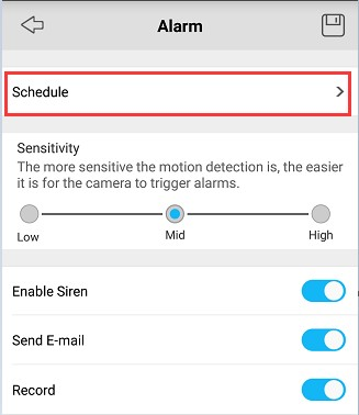 Motion Detection Schedule